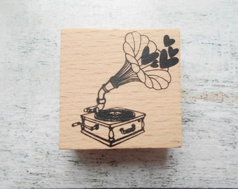 """Running discs"" wooden rubber stamp new"