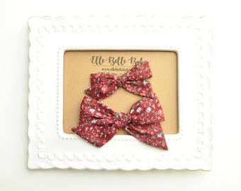 Vintage Maroon & Pink Floral Schoolgirl Hair Bow - Hand-tied hairbow-Evy bow -Cotton Baby Headband - Newborn Hairbow - Toddler Hair Clip