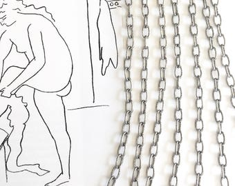 Antique Silver Cable Chain, Oval Cable Chain, 6mm, 10Ft