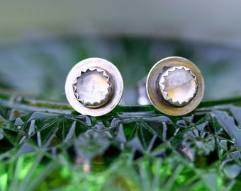 Sale Adularescence Moonstone Post Earrings Sterling Silver Free Domestic Shipping