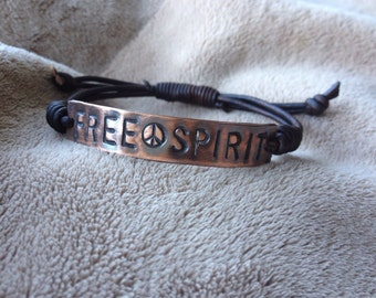 Antique Copper FREE SPIRIT ID Leather Bracelet Hand Stamped, Peace sign bracelet, affirmation