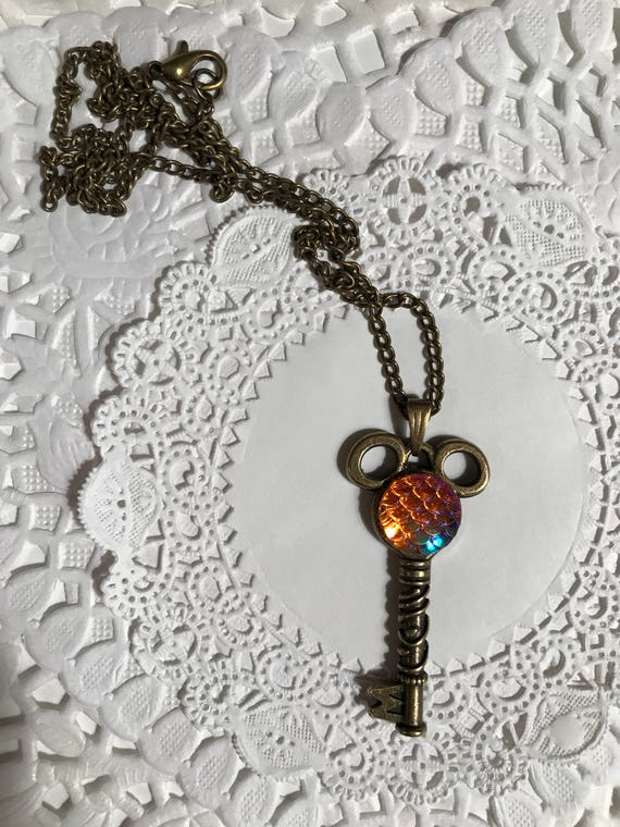 Mouse Ears Key to the Kingdom Necklace Steam Punk Jewelry Hidden Mouse