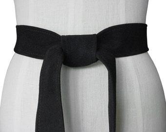 Black suede sash, Classic leather belt, Black Suede Belt, Leather Sash Belt, Tie Belt, soft leather belt, Suede coat belt, Lambskin Suede,