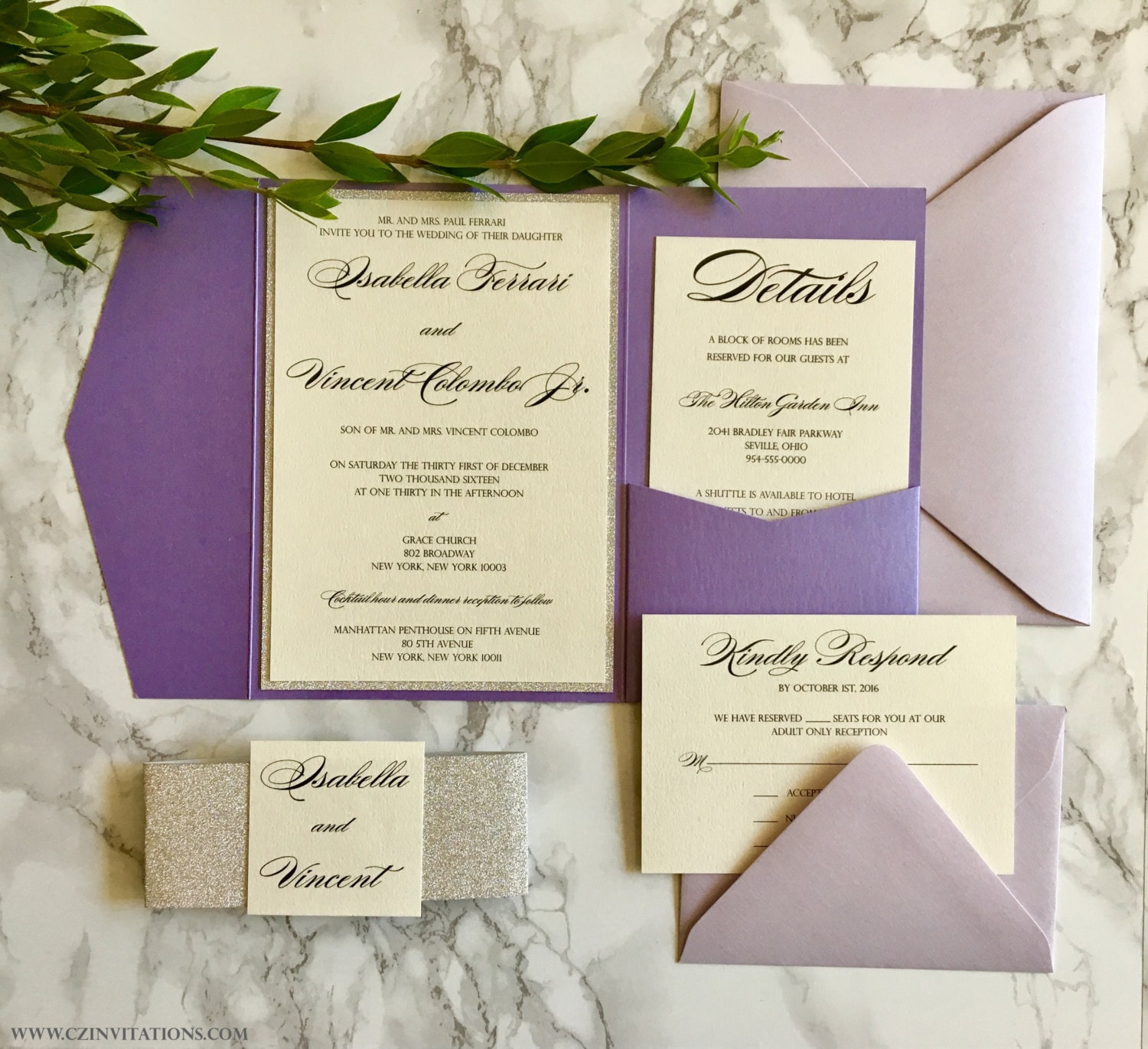 Purple and Silver Glitter Pocket Wedding Invitation with