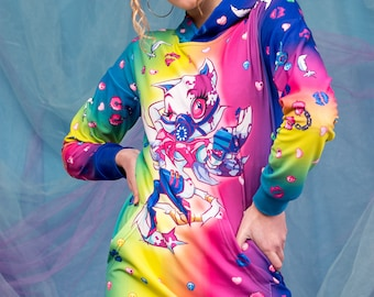 Colorful Pullover Sweatshirt, Rave Pullover Hoodie, Psychedelic Clothing, Women Cardigan, Rainbow Cardigan, Girlfriend Gift, Pastel Clothing
