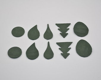 Set of 10 forms khaki nubuck leather for jewelry making