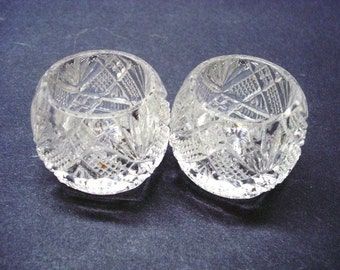 Sparkling Antique Glass SALT and PEPPER CELLARS Set of 2 Condiment Dishes Lovely Intricate Pattern,Collectible Salt Cellars