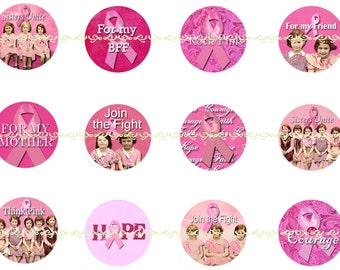 Breast Cancer Magnets, Breast Cancer Pins, Join the Fight, For my Mother, Sisters Unite, Think Pink, Courage, BFF, 25 mm, 12 ct