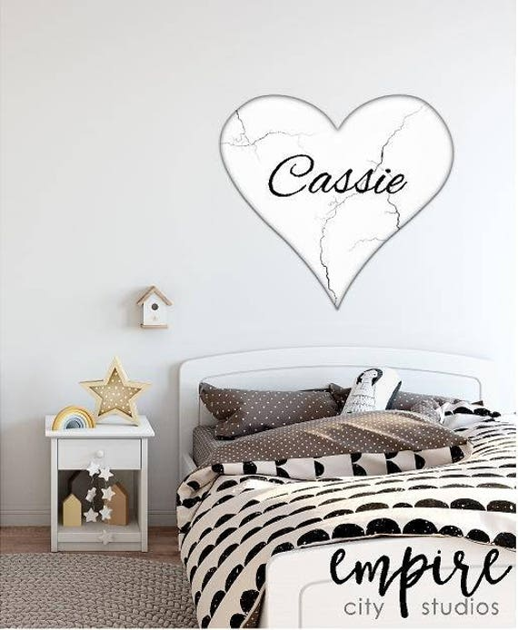 White and Black Marbleized Heart Decal, Marble Tile Heart decal, Custom Name girls decal, Personalized Name wall decal