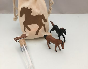 Horse Party Favor: Horse Party Bag filled with Horse Theme Bubble Wand and two Plastic Horse Toys