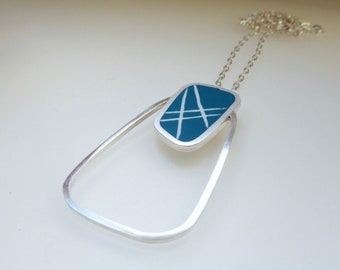 Striped Pendant - Teal Blue Pendant - Statement Necklace - Resin and Sterling Silver Necklace - Graphico Pendant Stripes