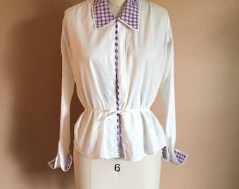 Vintage 1910s Edwardian Blouse White Cotton Antique Shirt