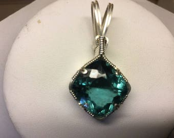 one of a kind, Aquamarine, pendant, wire wrapped, necklace