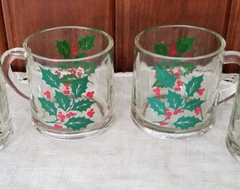 Vintage, Christmas Holly, 4 Clear Glass Mugs, Anchor and Hocking