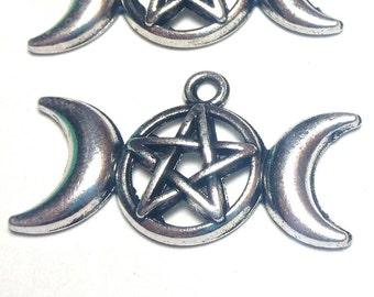 Triple Moon pendants, triple moon Goddess Pendant Charms, Pentagram Pentacle Protection Star Pendant (2 pendants)