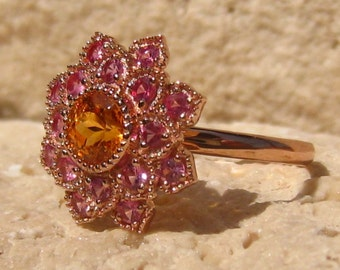Mandarin Spessartite Garnet and Mahenge Pink Spinels in Rose Gold Floral Filigree Marigold Ring