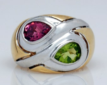 ESTATE Peridot and Tourmaline Gypsy Ring in 14 Karat Two Tone Gold
