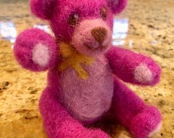 Needle Felted Pink Teddy Bear