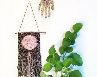 """Woven Wall Hanging - Tapestry - """"Moon"""""""