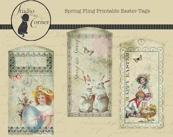 Printable Easter Tags, Spring Tags, Vintage Spring Tags, Vintage Easter Tags