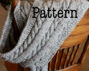 PDF Knitting Pattern for Cabled Scarf - Cable Knit Scarf Pattern