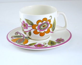 Hippie Flower Power Ceramic Teacup Set, Retro Boch Belgium Tea Cup and Saucer, Pink Orange 70s Paisley Pattern Teacup and Saucer, Demitasse