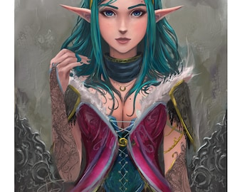 "12""x18"" Art Print - Elves and Corsets -1-"