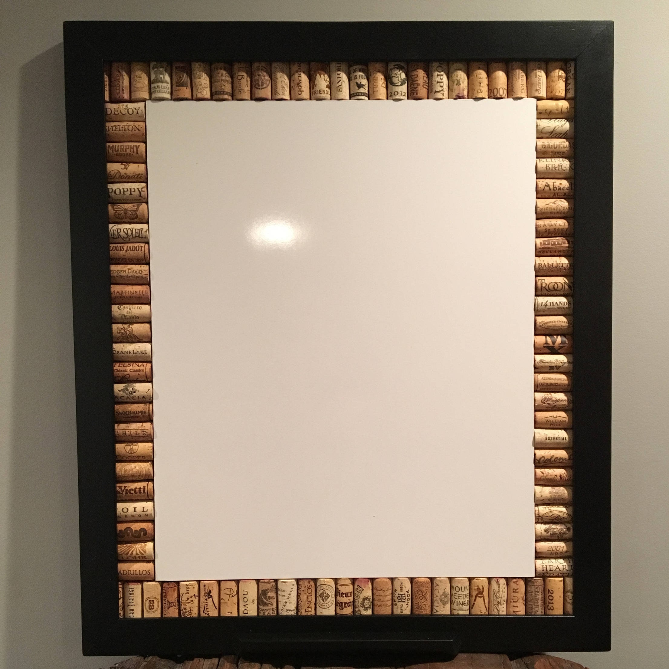 Wine Cork Message Board Framed White Board