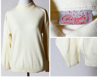 Vintage Women's Turtleneck Sweater - 70s Mock Turtleneck Cheryl Retro Made in USA