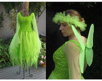 New Adult  Tinkerbell Fairy  Dress ~ Halloween  Costume ~Tulle  Headpiece ~  Wings ~Theatre
