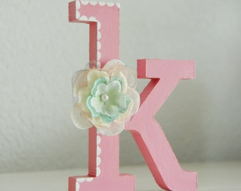 """Free standing wooden letter, 10cm/4"""", Nursery/Kids room deco,Hand painted & decorated letter with handmade flower. Baby girl nursery ideas"""