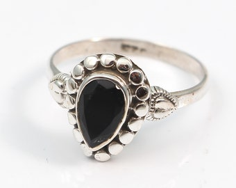 Black onyx 92.5 sterling silver ring size 6.5 us