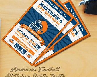 Football Birthday Party Vertical Invitation Template 3