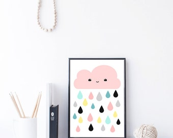 pink kawaii cloud nursery wall art printable - size 8x10 in and A4 JPEGS