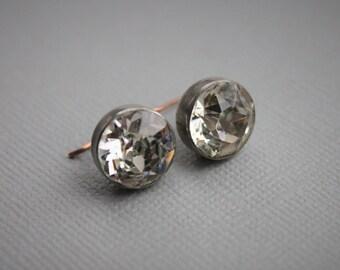 Large Georgian Foiled Paste Button Earrings / Antique Paste Drop Earrings / Victorian Paste Earrings