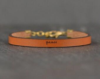 peace leather bracelet | peace | peace on earth | peace leather band | christian bracelet | be still bracelet | poetry bracelet