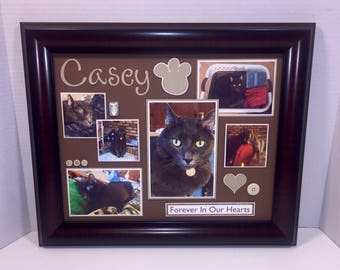 Personalized Cat Memorial Picture Frame - 11x14 Frame Included - ANY COLORS You Choose - Choose Frame Color
