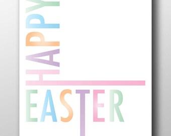 Happy Easter,pastel easter,pastel easter print,happy easter sign,easter poster,easter art,Easter typography,typography,happy easter words