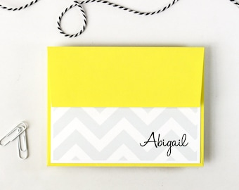 Personalized Chevron Stationary Grey and Yellow Zig Zag Personalized Stationery Bright Note Cards Yellow and Gray Bridesmaid Gift- Set of 10