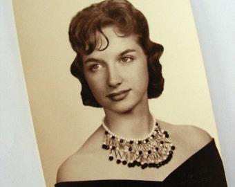 Beautiful Lady Formal Black and White Vintage Photo Ephemera 1950s