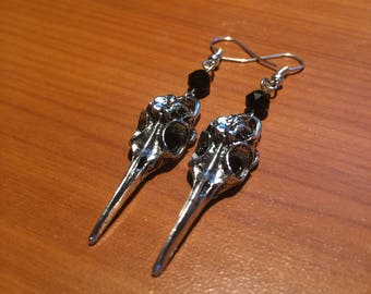 Swarovksi Crystal and Metal Bird Skull Earrings