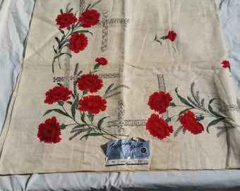 "Vintage NOS Parisian Prints Red Carnation Linen Tablecloth 52"" x 52"""