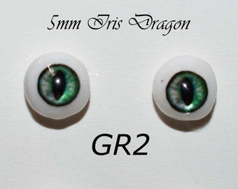 Hand Made Dragon Eyes 8mm - Green GR2- Fantasy - Character - Creature - Reptile OOAK
