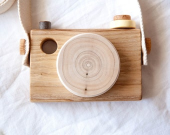 Pretend play Camera - Wooden Toy Camera with Strap - Wooden Camera Toy