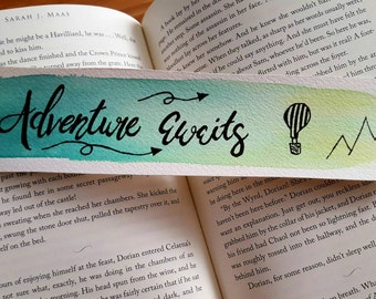 Adventure Awaits Watercolor Bookmark, Gift For Booklover, Traveler, Wanderlust