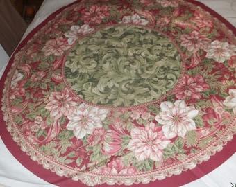 Elegant Traditions Christmas Tree Skirt And Table Top Fabric Panel
