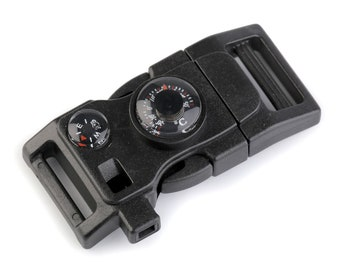 Side Release Buckle with Whistle and Compass width 20 mm