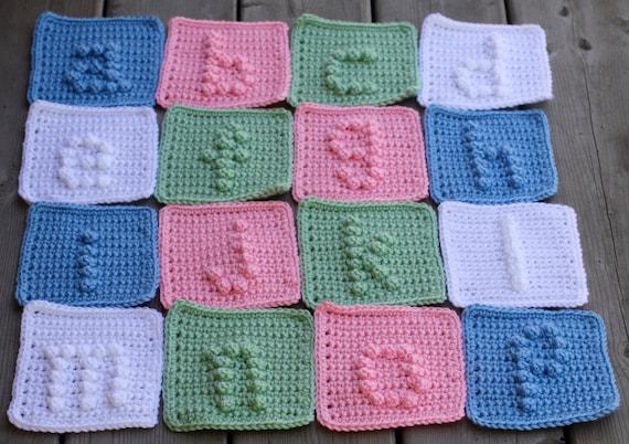 lower case alphabet letters a-z Crochet Pattern - Crochet Baby Blanket Pattern -