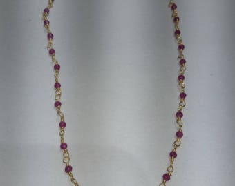 SGR110 one foot  2mm to 2.5 mm pink ruby  gold plated  rosary chain /wire wrapped chain  .