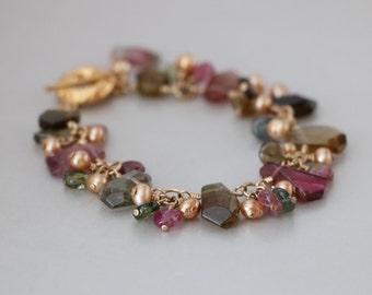 Multi color Tourmalines Golden Champagne Freshwater Pearls Gold Filled Bracelet